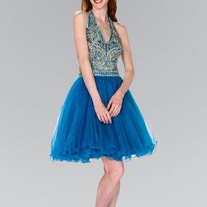 Jeweled V-Neckline Party Short Dress